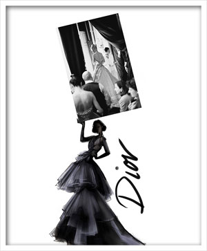 Dior and Karen Mulder, Photo Bruno Bisang, Illustration Martine Brand