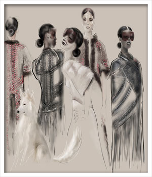 Givenchy, Illustration by Martine Brand
