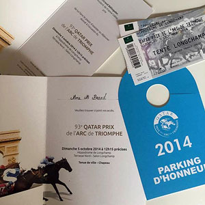 Invitation to the 93th Qatar Prix Arc de Triomphe